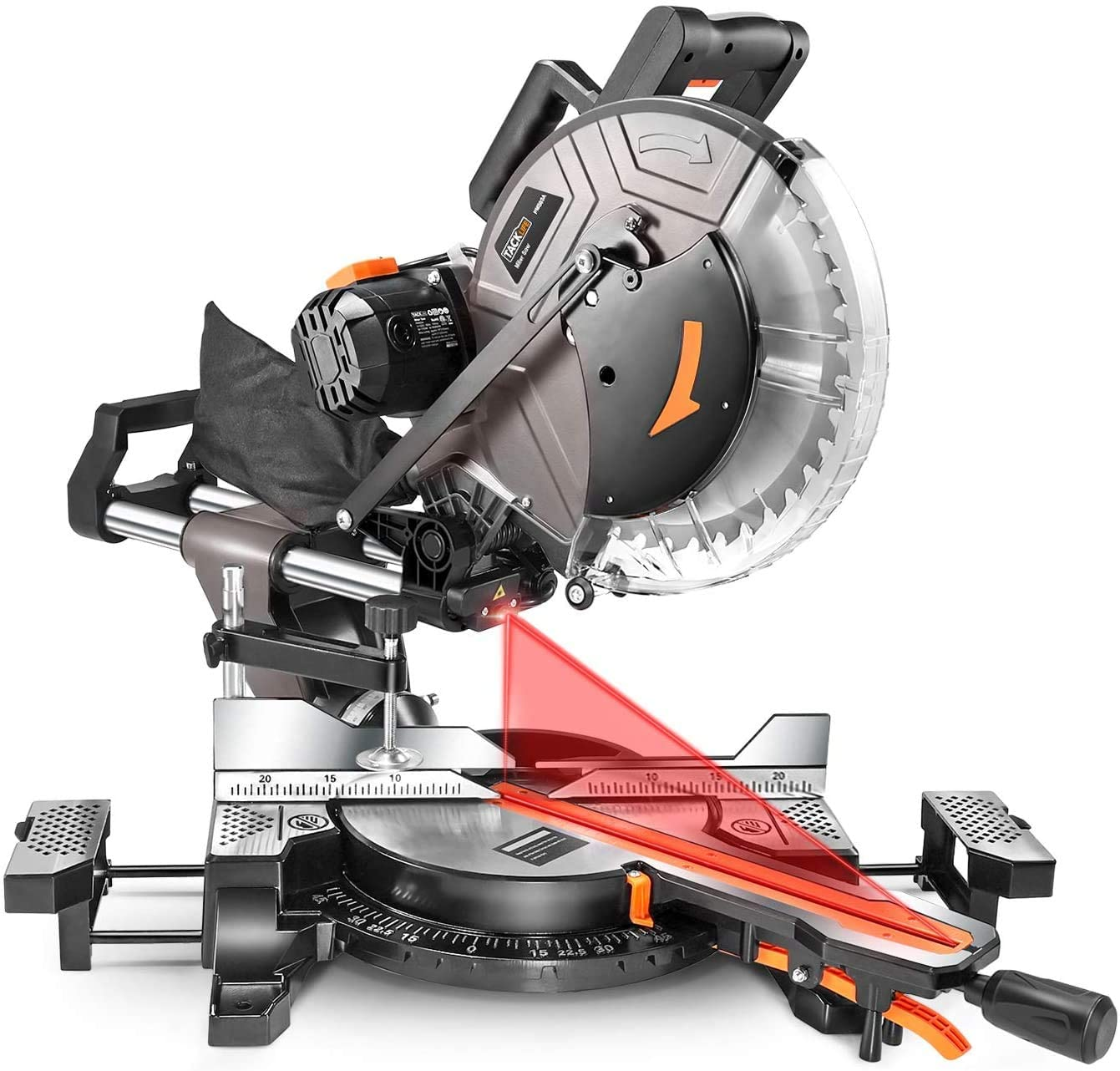 tacklife pms03a sliding compound miter saw isolated on white background